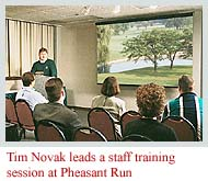 Tim Novak leads a staff training session at Pheasant Run